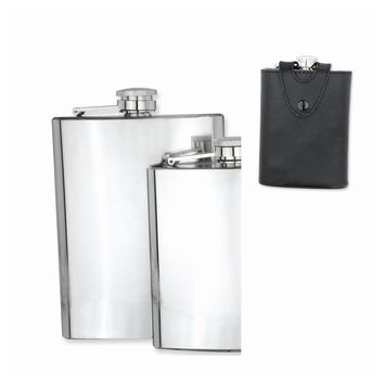 Black Leather Case Polished Stainless Steel Hip Flask - Engravable Gift Item