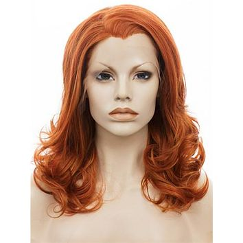 Middle Length Pumpkin Orange Sunset Wave Synthetice Lace front Wig