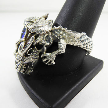 Sterling Silver Dragon Ring Size 12 - 13 Blue Art Glass Ring 14 Grams 925 Detailed Large Mystical Glass Vintage 1980s 1990s Dragon Jewelry