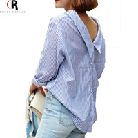 Shirt 2016 Autumn Long Sleeve Blue Striped Back Button Loose Casual Oversized Top Blouse Women Clothing