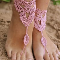 Crochet Ivory Barefoot Sandals Nude shoes, Foot jewelry, Wedding, Victorian Lace, Sexy, Yoga, Anklet , Bellydance, Gift,Steampunk, Beach Pool