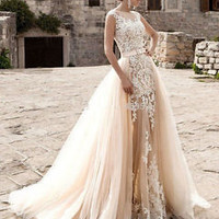 Champagne Sheer Bridal Wedding Dress with Detachable Overskirt Custom Size 2 4 6