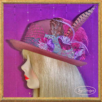 Woman's Embellished Vintage Cloche Scala Hat in Mulberry Wool, One of a Kind Reconstructed, Millinery Handmade