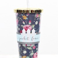 Augusta Floral Print 24 oz Tumbler w/ Gold Lid {Navy Mix}