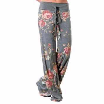 Women's Gray Floral Print Casual Drawstring Long Trousers Pants