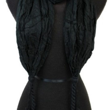 BLACK WRINKLED DOUBLE KNOTTED SCARF