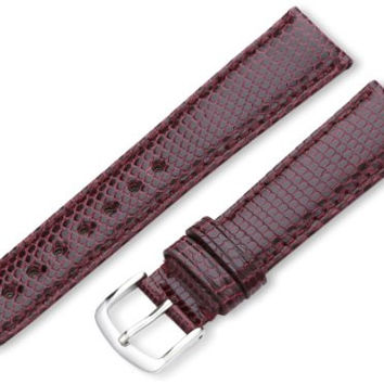 Hadley-Roma Women's LSL715RC 180 18-mm Burgundy Genuine Java Lizard Watch Strap