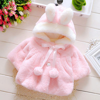 Cute Baby Girl Coat Soft Bunny Hooded Batwing Toddler Girl Clothing Cape Rabbit Ears Jacket For Girls Fashion Kids Clothes Small