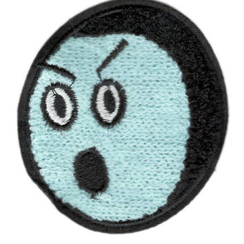 Cute Vintage Style Chenille Blue Smiley Face Smile Patch Badge 9cm