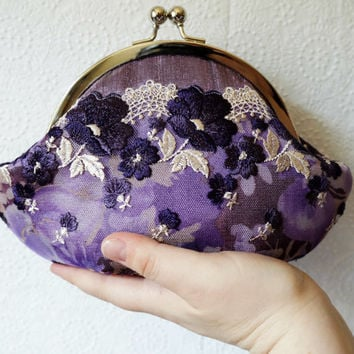 Purple clutch, small clutch purse wristlet, lavender purple silk clutch with violet floral lace overlay, personalized clutch,