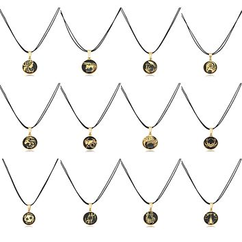 Astrology Horoscope Zodiac Gold Plated Brass Handmade Pendant Necklace