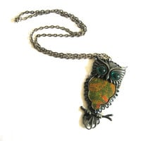 Long Owl Pendant Pewter Necklace