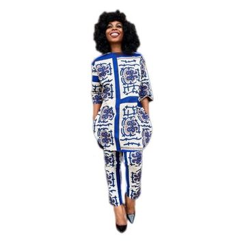 Autumn african woman clothing two pieces print fabric blue plaid pants suit