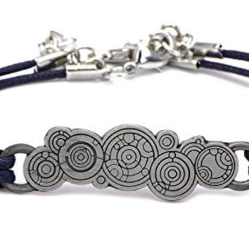 Doctor Who Gallifreyan Symbol with Blue Cord Leather Bracelet