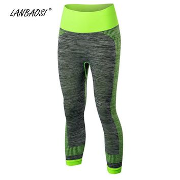 LANBAOSI Women's Compression Running Tights Capri Pants Stretchy Quick Dry Slim Fitness Workout Gym Sports Bottoms Sportswear