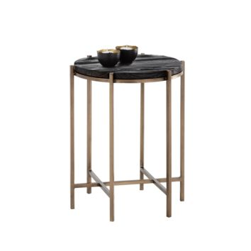 ROHA ANTIQUE BRASS FINISH BASE WITH BLACK PLANKS OF RECYCLED PINE TOP END TABLE