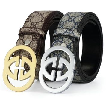 GUCCI 2 G Woman Fashion Smooth Buckle Belt Leather Belt-8