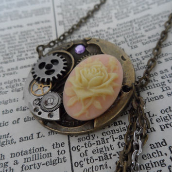 Steampunk Necklace, Cameo, Watch Parts, Cogs and Gears, Vintage Floral S14