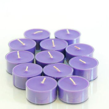 Black Raspberry Vanilla Scented Soy Tea Light Candles - Purple Tea Lights - Handpoured - Choose Your Pack