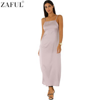 ZAFUL 2016 Sexy Braces Women Maxi Dress Women Summer New Backless Satin Slip Dresses Evening Party Dinner Long Dress Vestidos