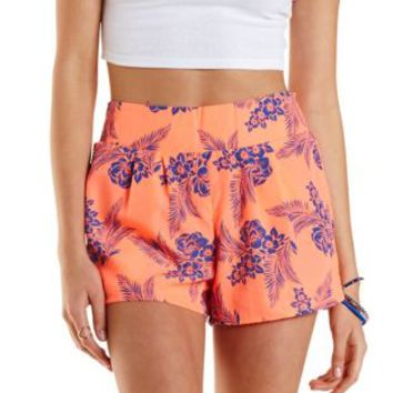 Neon Coral Tropical Print High-Waisted Shorts by Charlotte Russe