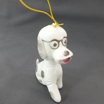 Vintage Toy Plastic Dog, Made in Hong Kong, Carnival Prize, Dog Wearing Glasses, Dalmatian, White and Black Dog, Ornament, Hanger