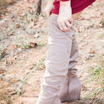 Over The Knee Wedge Boot, Grey   Chinese Laundry