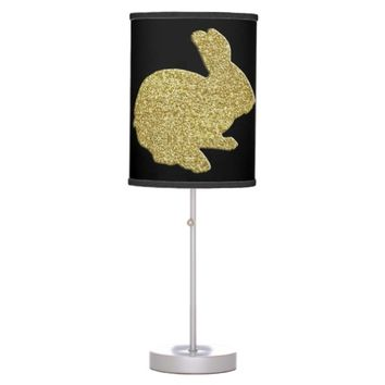 Gold Glitter Silhouette Easter Bunny Desk Lamp