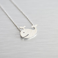 Whale Necklace in Silver Fun Trend Funky Cute Geek by Juelu