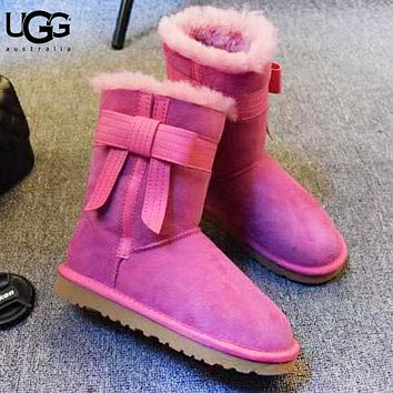 UGG Autumn And Winter Fashion New Bow Fur Shoes Keep Warm Boost Women Rose Red