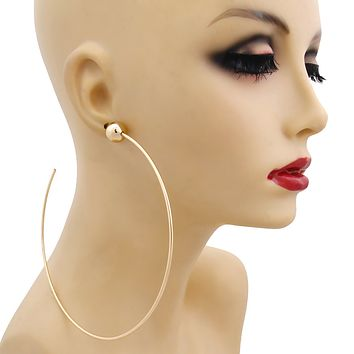 Large Gold Hoop and Ball Earrings