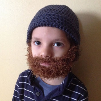 Handmade Crochet Beard hat, beard beanie. Navy blue hat with light brown beard, beard hat, men beard hat