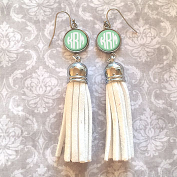 White Monogram Tassel Earrings, Personalized Earrings - Style 430