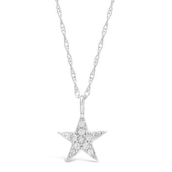 """.20 cttw Diamond Star Sterling Silver Pendant Necklace 18"""""""