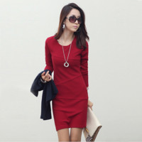 Women Dresses Autumn Winter Warm Package Hip Dress Plus Size Long Sleeve Ukraine Work Wear Ladies Office Dress Elegant Clothing