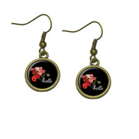 Hello Bouquet Flowers Ranunculus Dangle Drop Earrings