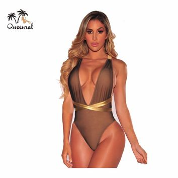 One piece swimsuit Swimwear Female sexy bandage Swimwear Bodysuit Women swimming suit for women Solid color bathing suit