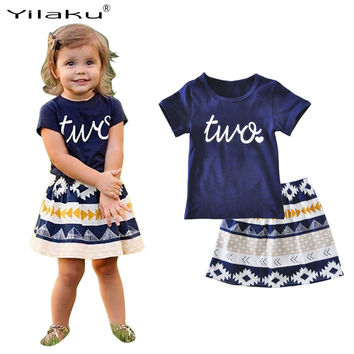 Girls T-shirt Skirt Clothing Sets 2017 Summer Kids Girls Clothes Short Sleeve Clothes Set Children Toddler Girl Clothing CF512