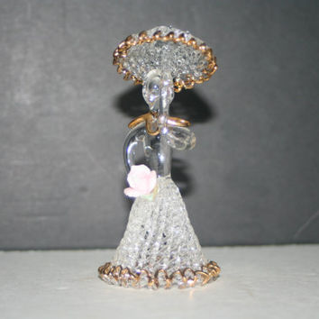 Vintage Spun Glass Lady with Umbrella Figurine,Collectible Vintage,Castawayacres