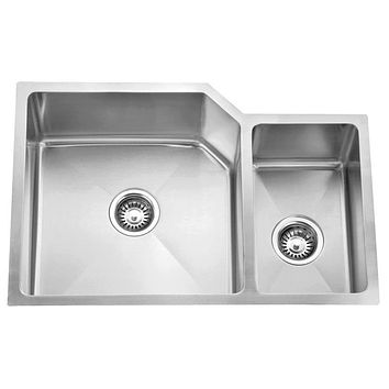 DAX-3020B / DAX HANDMADE 70/30 DOUBLE BOWL UNDERMOUNT KITCHEN SINK, 16 GAUGE STAINLESS STEEL, BRUSHED FINISH