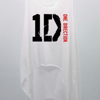 ONE DIRECTION white T Shirts Tank Top Tunic Blouse high waist women handmade silk screen printing