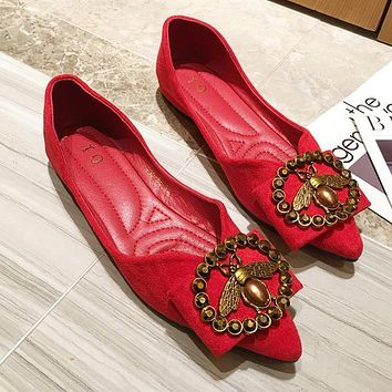 LV Louis Vuitton Bee Women Fashion Leather Pointed Toe Flats Shoes