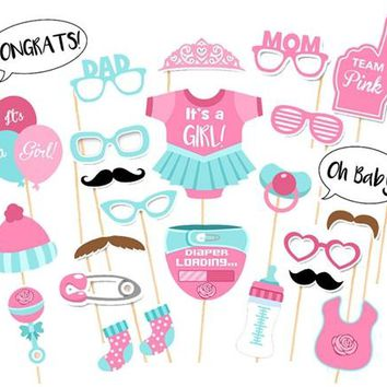 25pcs Baby Shower Favors Photo Booth Props