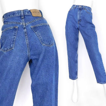 """Sz 6 S 90s GAP High Waisted Mom Jeans - Vintage Women's Baggy Loose Reverse Fit Tapered Blue Jeans - 27"""" Waist"""