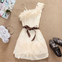 Stylish and Delicate Sweety Ruffles One-shouldered Chiffon Dress China Wholesale - Sammydress.com
