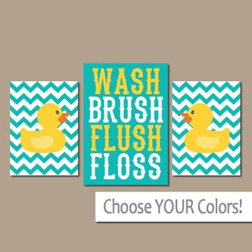 Rubber Duckie BATHROOM Turquoise Yellow Duck Wall Art, CANVAS or Prints Girl Boy Child Bath WASH Brush Flush Chevron Set of 3 Bath Decor