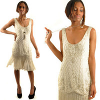 Vintage 80's Silk Silver Beaded Flapper Fringe Drop Waist Party Dress 8