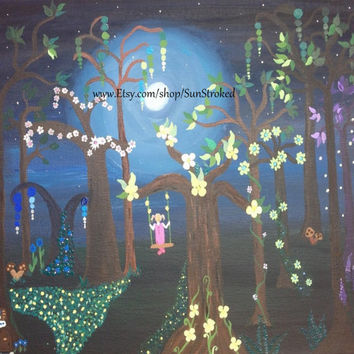PRINT, Magical Forest, abstract acrylic energy art, happy art, FREE shipping, whimsical, children's room, fantasy, fairy, magical