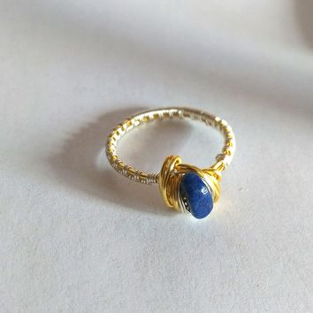 Lapis Lazuli Gold and Silver wire wrap ring, Natural lapis Lazuli, Gift for her, Unique gifts