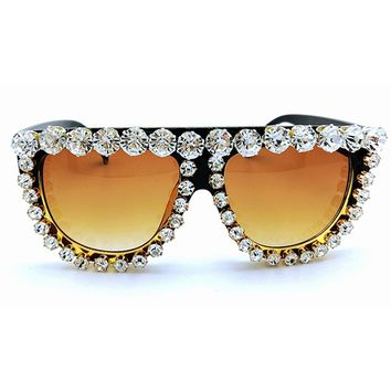 Queen Style Women 2016 Famous Brand Designer Vintage Sunglasses Woman Luxury  Diamond oversize Large Exaggerated   Sunglasses